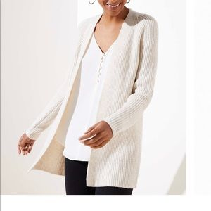 Loft oat heather petite open cardigan medium